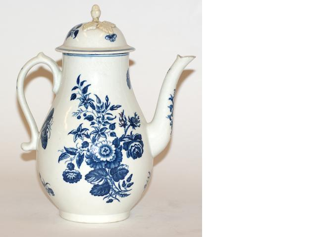 A Worcester porcelain baluster coffee pot and cover, circa 1770