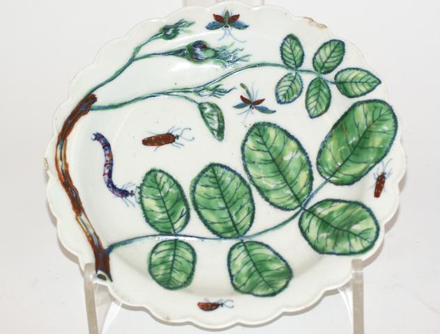 A Worcester porcelain plate, circa 1765