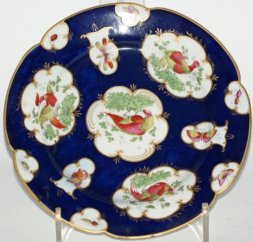 A Flight, Barr & Barr Worcester blue ground plate, circa 1820