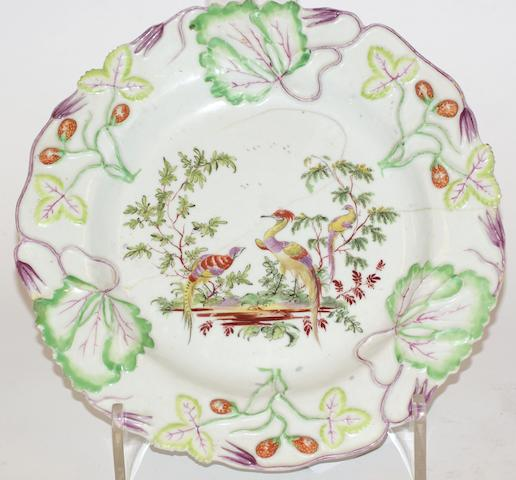 A Longton Hall strawberry plate, circa 1756