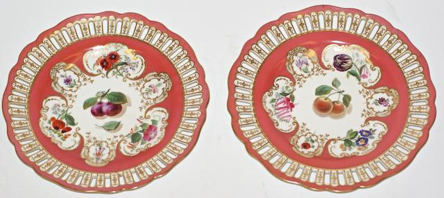 A pair of Copeland porcelain cabinet plates and another, circa 1880