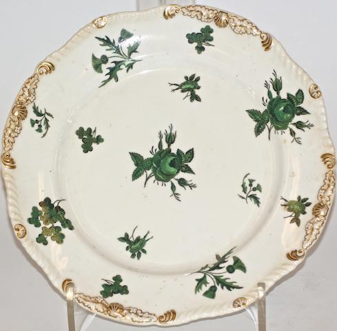 A Rockingham porcelain cabinet plate, circa 1825