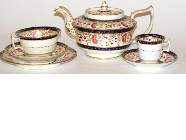 A collection of Coalport porcelain tea ware, circa 1817