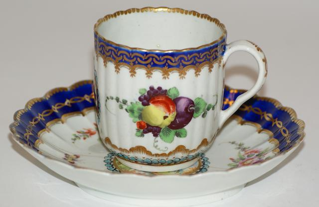 A Worcester 'Earl Dalhousie' type coffee cup and saucer, circa 1780