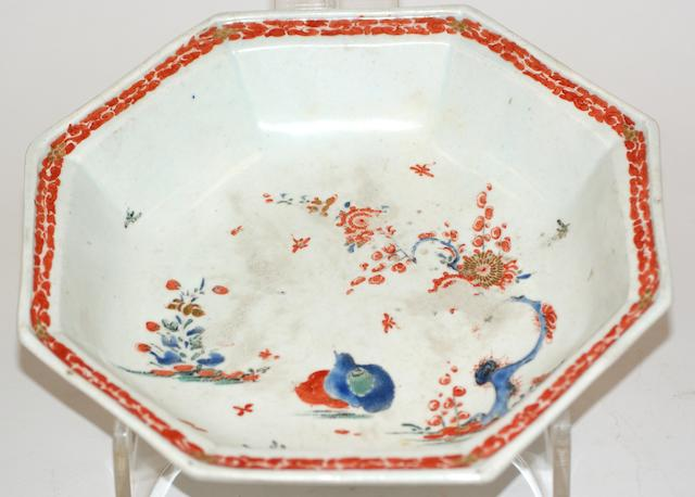 A Bow porcelain hexagonal bowl, circa 1755