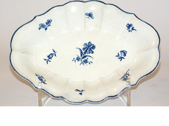 A Worcester porcelain lobed oval dish, circa 1770