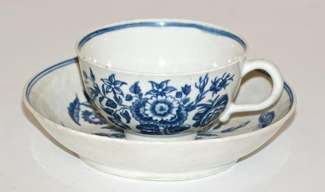A Worcester porcelain tea cup and saucer and a coffee cup and saucer, circa 1770