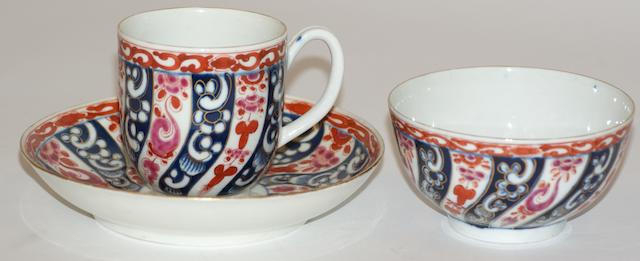 A Worcester porcelain trio circa 1770