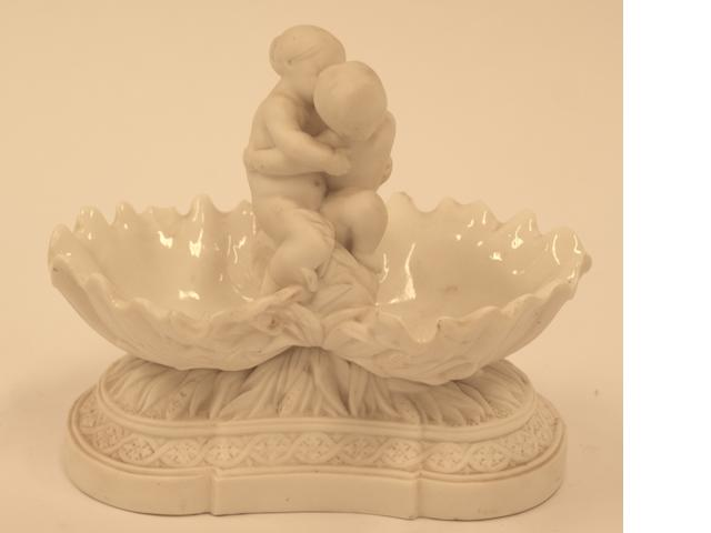 A Minton Parian porcelain double salt, 1862