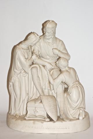 A large Victorian Parian porcelain figure group 'The Poison'd Wound Edward I'
