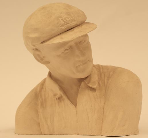A plaster cast bust of Donald Bradman