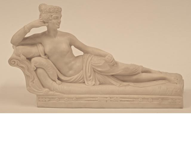 A carved marble figure of Paolina Borghese
