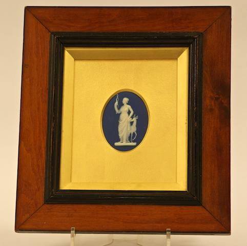 A Wedgwood oval cobalt blue and white jasper plaque, 19th century