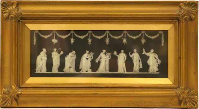 A Wedgwood rectangular black basalt and white plaque, 19th century