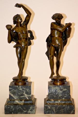 A Victorian pair of bronze bacchanalian dancers