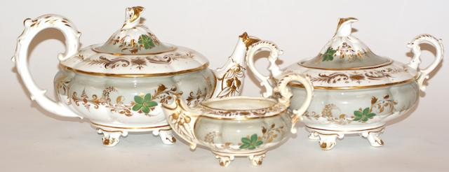 A Victorian three piece porcelain tea set, possibly Daniel, circa 1840