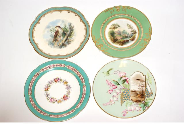 A collection of seven Victorian porcelain plates