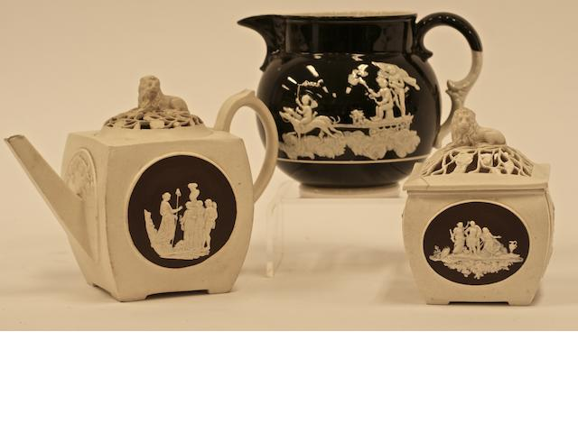 A John Turner & Co jasperware teapot and sugar bowl, late 18th century