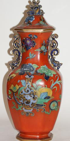 A 19th Century English 'Chinoiserie' two handle pottery vase and cover