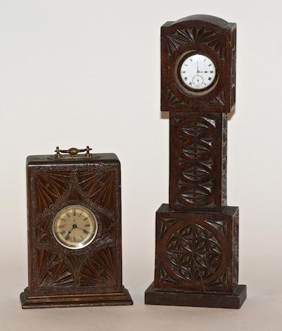 An Australian blackwood chip carved watch stand in the form of a grandfather clock