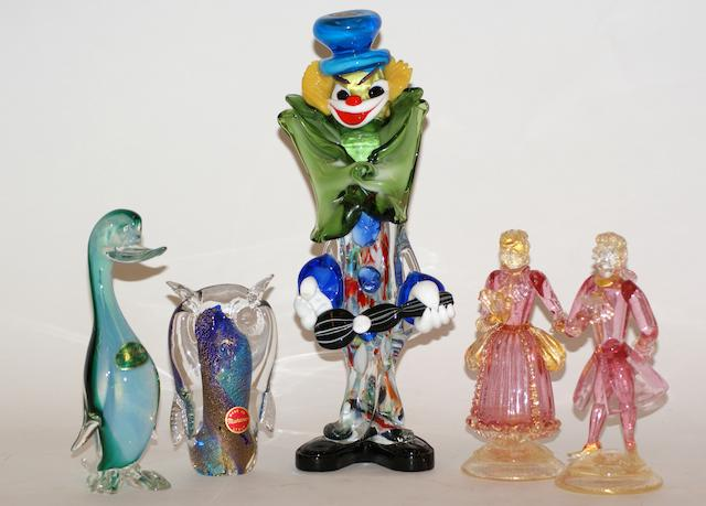 A collection of Murano glass