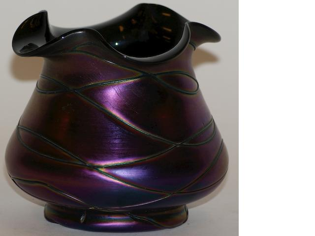 Two Loetz iridescent purple glass vases