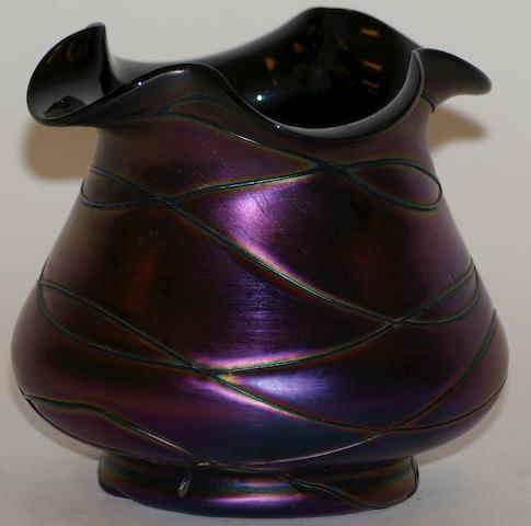 Two Loetz iridescent purple glass vases