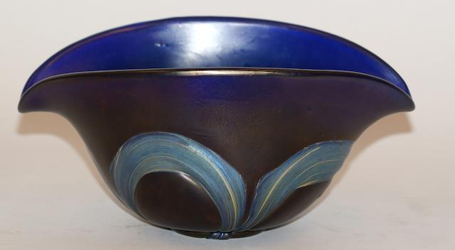 A Loetz style iridescent blue oval bowl