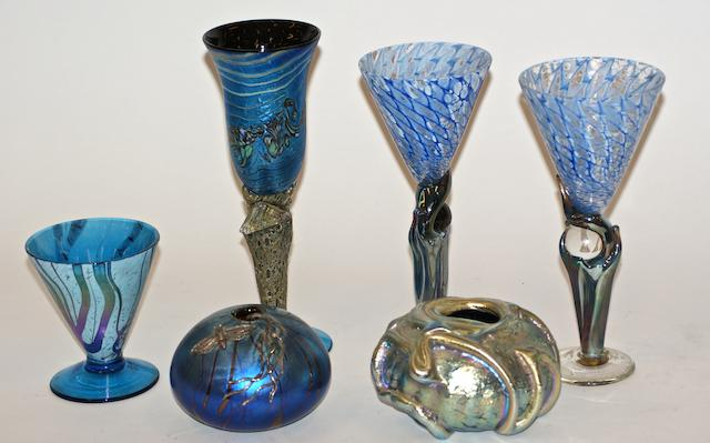 Three Modern glass goblets and three vases by Colin Heaney