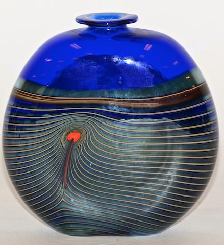 A Modern blue glass vase by Rob Wynne