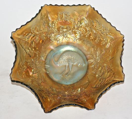 An emu gold iridescent carnival glass bowl