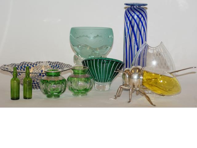 A collection of glass comprising two Kosta Boda glass vases