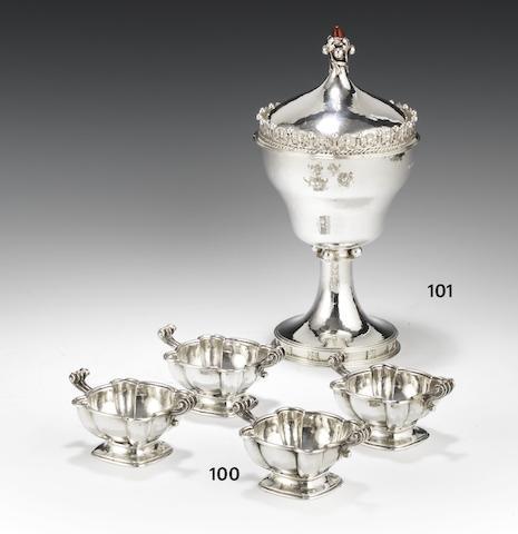 A silver cup and cover London 1931