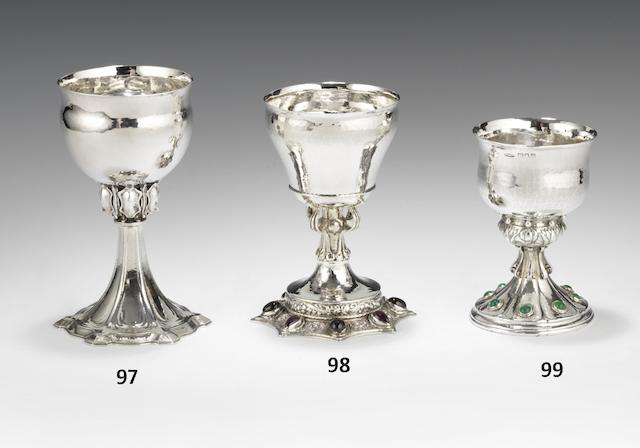 An Edwardian silver and gem-set goblet by Omar Ramsden and Alwyn Carr, London 1909