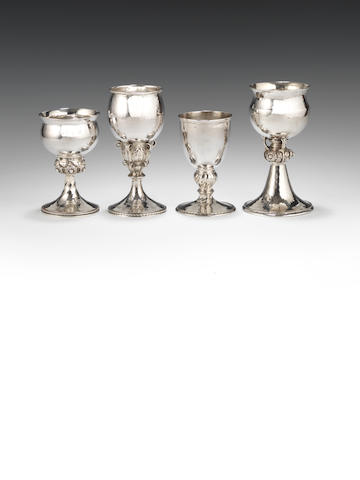 A silver goblet by Omar Ramsden, London 1923, and another goblet by Ramsden (2)