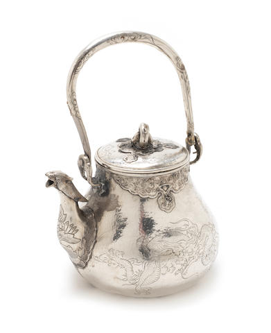 An early 20th century Oriental metalware tea kettle with character mark only to cover, possibly Chinese