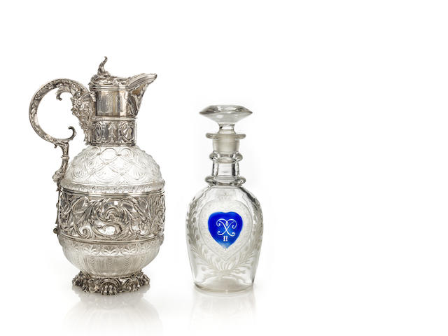An engraved colourless glass decanter probably Imperial Glass Factory