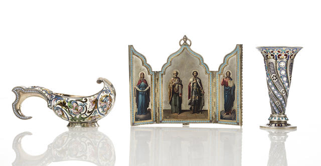 A silver-gilt and enamel miniature vaseAntip Kuzmichev, 1893, Moscow, scratch inventory number 6927