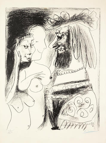 Pablo Picasso (Spanish, 1881-1973) Le Vieux Roi  Lithograph, 1959, on Arches, signed in blue crayon and numbered 63/200 in pencil, 645 x 495mm (25 3/8 x 19 1/2in)(SH)