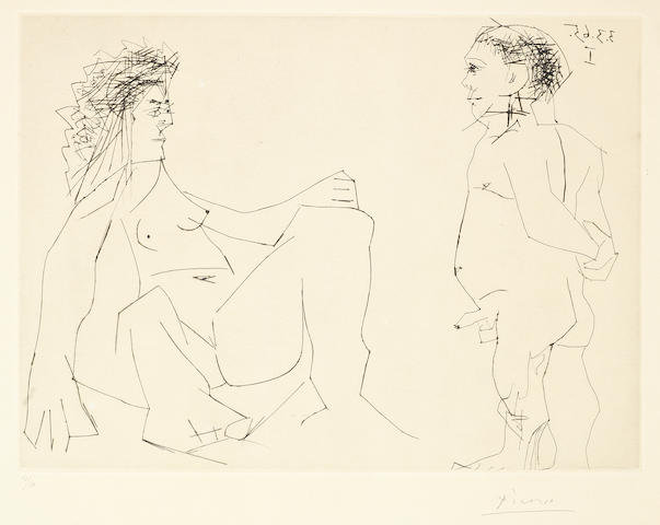 Pablo Picasso (Spanish, 1881-1973) Femme et Homme Drypoint and engraving, 1965, on Richard de Bas, signed and numbered 19/50 in pencil, printed by Crommelynck, Paris, published by Galerie Louise Leiris, Paris, 346 x 464mm (13 5/8 x 18 1/4in)(PL)