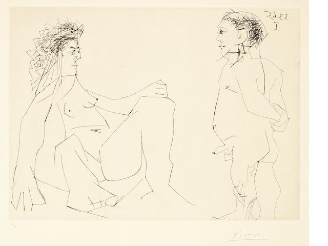 Pablo Picasso (Spanish, 1881-1973) Femme et Homme Drypoint and engraving, 1965, on Richard de Bas, signed and numbered 19/50 in pencil, printed by Crommelynck, published by Galerie Louise Leiris, Paris, 346 x 464mm (13 5/8 x 18 1/4in)(PL)