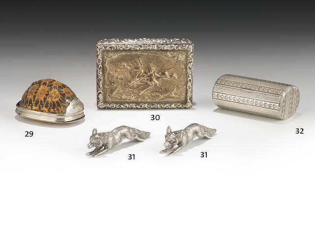 Of Hunting interest: A Victorian silver and silver-gilt table snuff box by Nathaniel Mills,  London 1844
