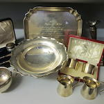 A rectangular silver waiter, by William Hutton and Sons Ltd,  Sheffield 1938,   (Qty)