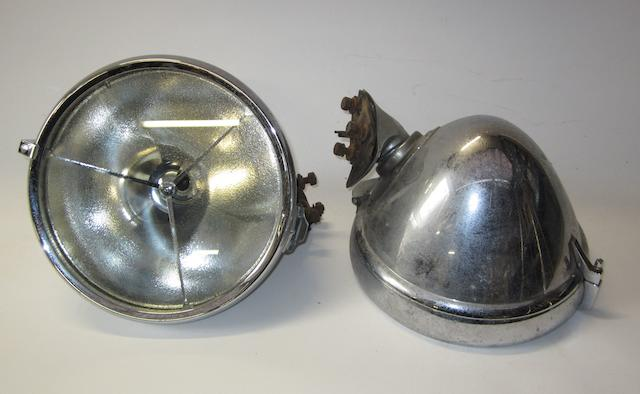 A pair of Lucas P100L electric headlamps, post-War,