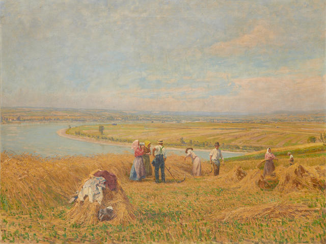 Stefan Simony (Austrian, 1860-1950) Harvesters at work with an extensive river landscape beyond