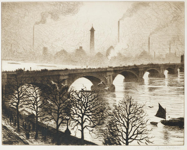 Christopher Richard Wynne Nevinson A.R.A. (British, 1889-1946) Waterloo Bridge from a Savoy Window (Guichard 49) Etching with drypoint, 1925, on J. Whatman laid, signed in pencil,  from an edition of 75, with margins, 275 x 350mm (10 3/4 x 13 3/4in)(PL)