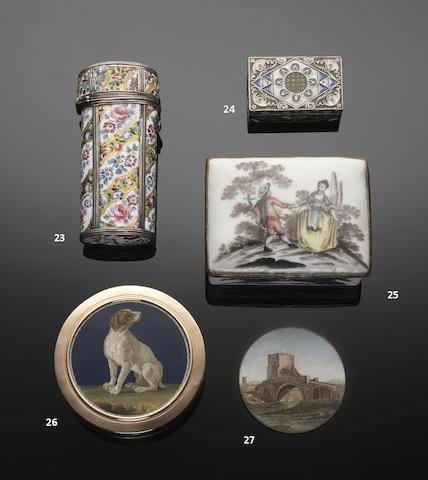 An unusual mid 18th century enamel and silver mounted etui