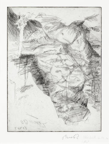 Georg Baselitz (German, born 1938) Hochstein Drypoint etching, 1969, on wove, signed and dated in pencil twice, a proof aside from the edition of 20, with margins, 315 x 235mm (13 3/4 x 9 1/4in)(PL)