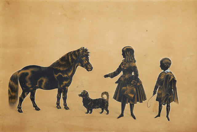 Royal Victoria Gallery (British, after 1837-circa 1854) A full-length silhouette of a Young Girl and Boy with their dog, in profile to the left, and their pony, in profile to the right; the Girl, wearing calf-length dress, embroidered spencer jacket tied at the waist and neckline with cord, her hair worn in loose ringlets to her shoulders, she holds a bonnet dressed with a plume in her left hand and gesticulates towards the pony with her right; the Boy, wearing tartan calf-length socks, kilt, sporran, buttoned jacket, white chemise and belted plaid worn over his left shoulder, his hair parted to the left and worn short, he holds a whip in his right hand and a Balmoral bonnet in his left