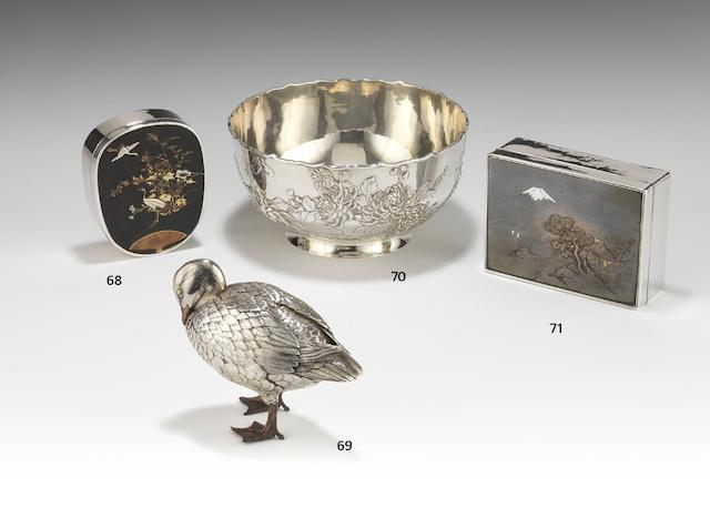 An early 20th century Japanese silver and mixed metal standing model of duck stamped with Japanese characters, Artist mark for Tsuneaki,